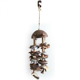 COCO SHELL N CHIME SMALL NATURAL BIRD TOY
