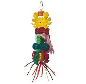 Groovy Lobster Small Bird Toy With Loofah