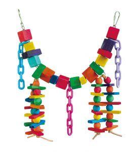 Rainbow Chain Wooden Bird Toy