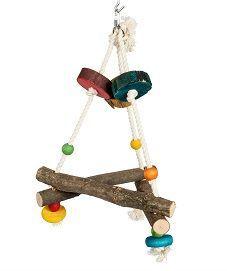 Small Pyramid Wood & Rope Bird Swing Toy