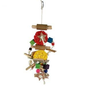 Two Wicker Ball Natural Bird Toy