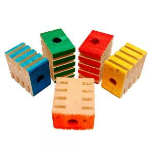 Coloured Chunky Groovy Blocks - Parrot Toy Parts - Pack 12