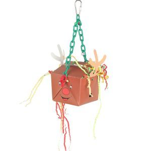 Reindeer Fun Foraging Box On Hanging Chain
