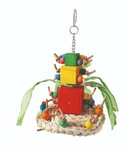 Knotty Tower Wood, Leather, Maize Bird Toy