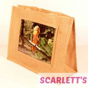 Jute Bag Natural Caique Parrot Design