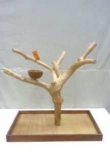 MINI JAVA TABLETOP TREE - LARGE - NATURAL HARDWOOD PARROT STAND L71007