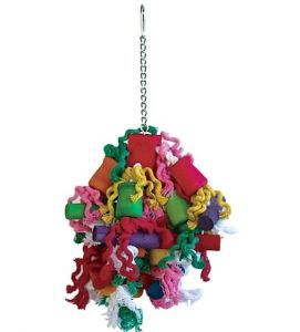 Curly Cotton Wood & Rope Medium Bird Toy