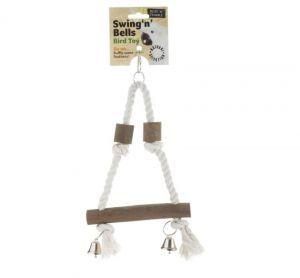 Swing N Bells Natural Wood & Rope Bird Swing