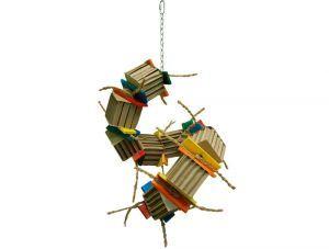 Zoo Max Bongo Twist Large Shredding Bird Toy With Wood