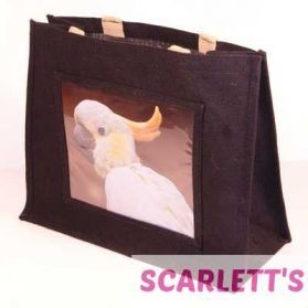 Jute Bag Black Cockatoo Parrot Design