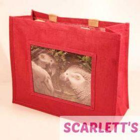 Jute Bag Pink African Grey Parrot