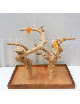 Mini Java Tabletop Tree - Double - Natural Hardwood Parrot Stand MD9408