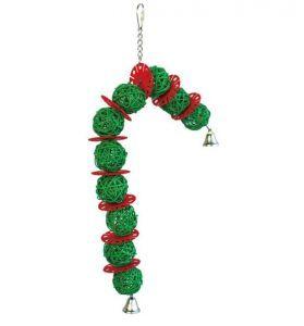 Candy Cane Wicker Ball Christmas Bird Toy