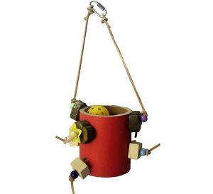 Bagel Bucket Foraging Bird Toy - Medium Bird