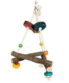 Small Pyramid Wood & Rope Bird Swing Toy