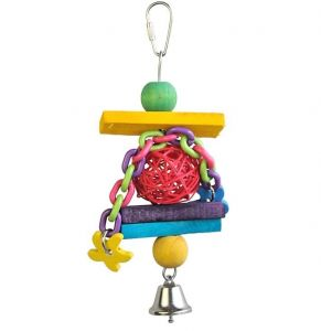 Chain Gang Small Bird Toy With Plastic Chain & Wicker