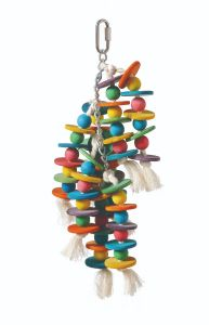 Dangling Discs Wooden Bird Toy