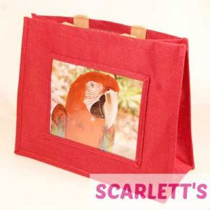 Jute Bag Pink Greenwing Macaw