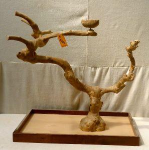MINI JAVA TABLETOP TREE - LARGE - NATURAL HARDWOOD PARROT STAND L8164