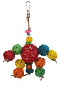 Wicker Ball Wonder With Leather Bird Toy