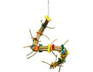 Zoo Max Bongo Twist Medium Shredding Bird Toy With Wood